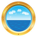 Yellow porthole window with sea view