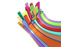 3d curved rectangular shapes in rainbow color on white