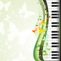 Piano keys with butterflies