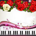 Piano keys with roses