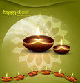 happy diwali green beautiful card vector