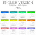 2013 calendar english version sun - sat