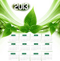 2013 calendar eco natural green lives stylish vector wave