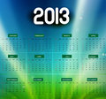 2013 calendar bright colorful shiny wave vector background