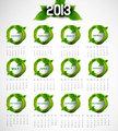 2013 calendar eco natural green lives circle stylish vector