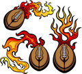 American Football Ball Flaming Vector Design Template