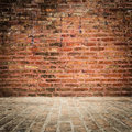 Brick wall and floor with vignette