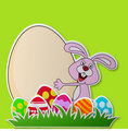Paper card with rabbit cartoon and Easter egg