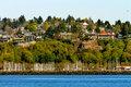 Sailboat Yachts Marina Cliff Buildings Waterfront Seattle Washin
