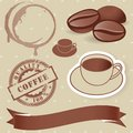 Vector set of vintage coffee elements.