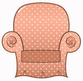Vintage brown dotted chair isolated on white
