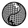 Chinese Pair of Fish in Yin Yang Circle Illustration