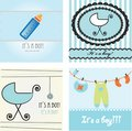 Set baby boy announcement card.