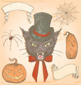 Hand Drawn Vintage Halloween Creepy Cat Vector Set