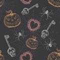 Hand Drawn Vintage Halloween Seamless Pattern