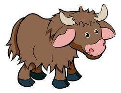 Cartoon Yak animal character stock vector