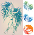 ink linework dancing girl in carnival feather costume