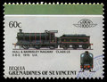 Stamp printed in Grenadines of St. Vincent shows Hull and Barnsley Railway class LS 0-6-0, 1915 U.K.