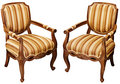 Vintage wooden baroque armchairs isolated on white