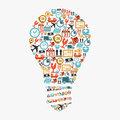 Idea light bulb, colorful shipping web icons composition.