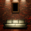 Abstract grungy interior with portrait on the wall for your desi