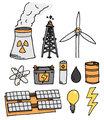 Energy vector icon set / Alternative power generation
