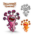 Halloween monsters weird eyes squid EPS10 file.