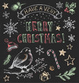 Vintage Christmas Chalkboard Hand Drawn Vector Set