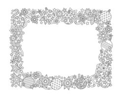 new year hand drawn horizontal frame zentangle inspired style isolated on white backgroun