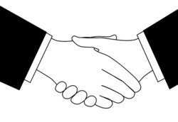 Clipart sketch of business deal handshake in black and ...
