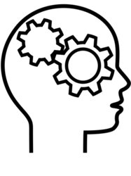 Profile of Gear Head Brain Thinker Outline stock vector