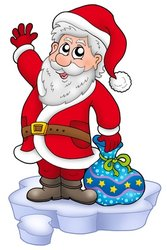 Cute Santa Claus with gifts on snow stock photo